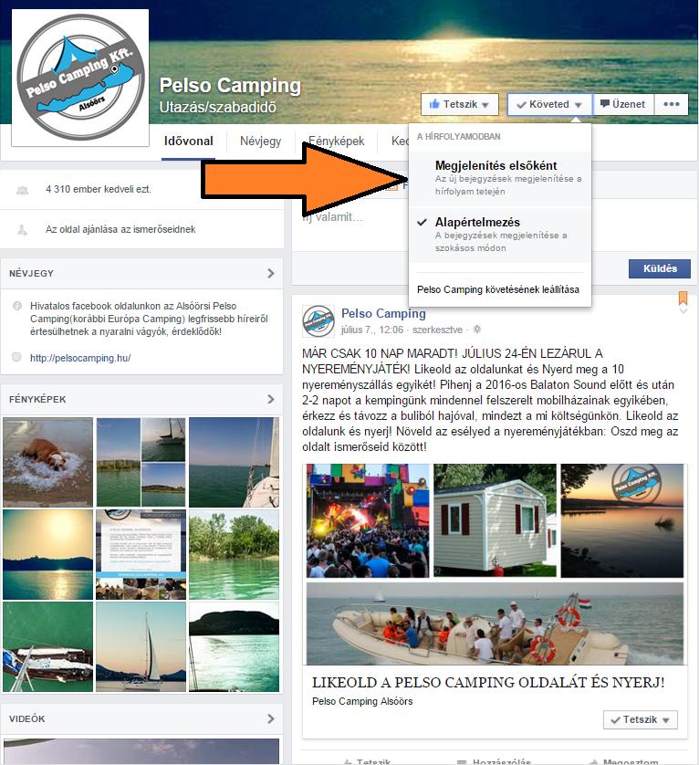 Pelso Camping facebook oldal